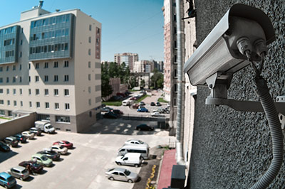 security camera overlooking building